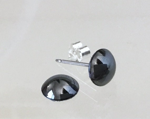 Dark Gray Pearl earrings Silver Black Hematite piercing stud Swarovski Crystal half dome 7mm Hypo Titanium Stainless Wedding Bride Jewelry