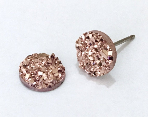 Rose Gold Pink Rock Crystal Druzy Earrings Pierced studs 8mm Hypoallergenic Titanium Allergy safe Wedding Jewelry Minimalist Bridesmaid Gift