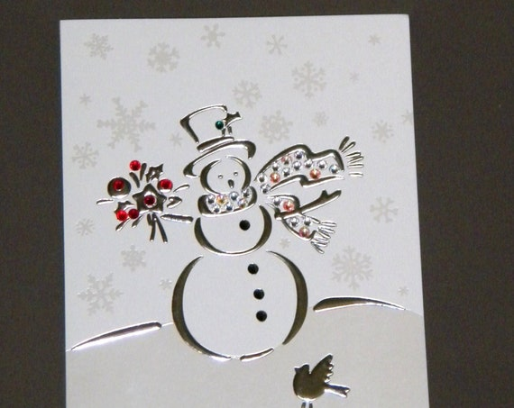 Christmas Card Crystal Snowman Snowflake custom Greeting w/ Swarovski Bling Silver Metallic Rhinestone gift tag Seasons Xmas w/ Envelopes