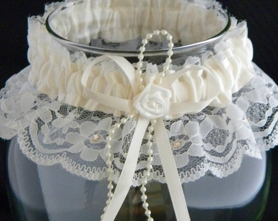 Wedding Garter Belt Tradition toss Ivory Lace Cream Pearl w/custom Swarovski Crystal Rhinestone Jewels Bridal Shower Gift Silk Satin Ribbon