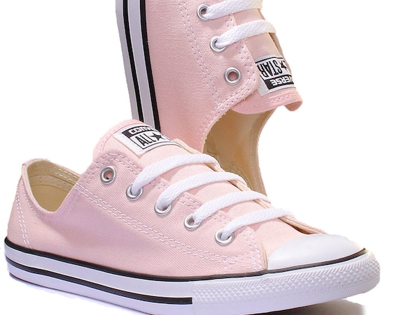 Pink Converse Dainty Blush Wedding Custom Bride Kicks w/ Swarovski Crystal Jewel Rhinestone Bling Chuck Taylor All Star Trainer Sneaker Shoe