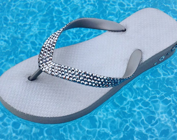 Silver Flip Flops Gray Crystal 1.5 Wedge Bride Heel Custom w/ Swarovski Bling Light Chrome Grey Cariris Brazilian Shimmer Beach Sandals Shoe