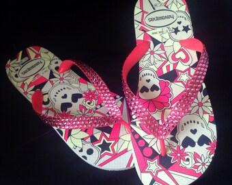bc66548acab013 Skull Flip Flops Pink Crystal Glow in the Dark Custom Rose Bling w   Swarovski Rhinestone Jewel Halloween GlassSlippers US 7 8 Sandals Shoes