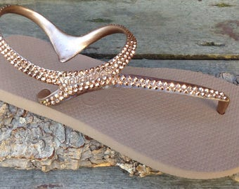 179d1326c22d Rose Gold Havaianas Flip Flops Crystal Metallic Gladiator Flash ankle strap  flat Custom Bling w  Swarovski Rhinestone Jewels Thongs Shoes
