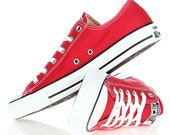 Red Converse Low Top Classic Cherry Canvas Custom Kicks w Swarovski Crystal Rhinestone Jewels Chuck Taylor All Star Wedding Sneakers Shoes