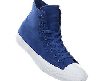603c23f8ce8 Blue Converse High Tops Bride Chuck Taylor II Navy Marine Ocean Sea Canvas w   Swarovski Crystals Rhinestones All Star Wedding Sneakers Shoes