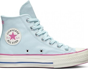 4bbc010ae417 Baby Blue Converse Pink Fuchsia High Tops Leather Vintage 70 Custom Chuck  Taylor w  Swarovski Crystal Jewels All Star Wedding Sneakers Shoes