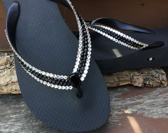 a7a471a5ac6b Black Crystal Flip Flops Custom Vintage Baguette Jewel Slim Havaianas Top  Cariris Wedge heel Platform w  Swarovski Rhinestone Sandal Shoe