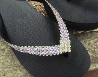 ce4a75e03b230 Bling Flip Flops Super Sparkle Havaianas flat Wedge 1.5 Heel w  Violet  Purple Swarovski Crystal 3D Ice Cap Silver Wedding Beach Bridal Shoe