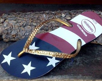 2a1f8bf811d5a5 Custom USA Havaianas Slim Crystal Flip Flop w  Swarovski Rhinestone Stars    Stripes Memorial Day Red White Blue July 4 Independence Day Shoe