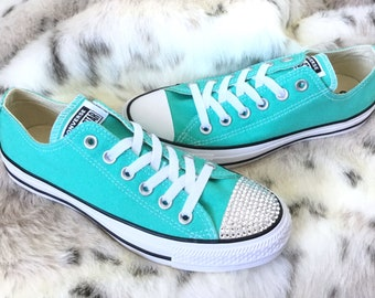 Aqua Blue Pure Teal Converse Low Turquoise Bling Custom w  Swarovski Crystal  Rhinestone Jewel Chuck Taylor All Star Wedding Sneakers Shoes 4f537ac2b