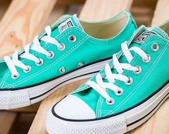 a67c12a853f Turquoise Converse Low Top Menta Mint Green Teal Custom Bride w  Swarovski  Bling Rhinestones Chuck Taylor All Star Wedding Sneakers Shoes