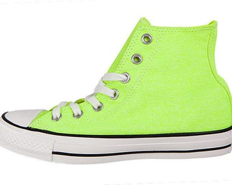 Neon Yellow Converse High Top Canvas shoe Custom Jewel Bling w  Swarovski  Crystal Rhinestone Chuck Taylor All Star Trainers Shoes f4c1b1bd59