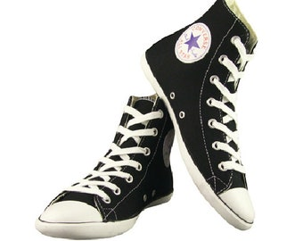 3ba173f07a8c Black Converse High Top Canvas Acoustic Hi Boot Slim Lux Custom Bling w  Swarovski  Crystal Rhinestones Chuck Taylor All Star Sneakers Shoes