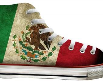 7b45981099c677 Viva Mexico Flag pride distressed Custom Print High Top Basketball Kicks  Mens Ladies w  Swarovski Crystal Rhinestone Chucks Sneakers Shoes