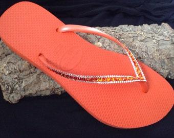 5958b02cdfa46 Orange Coral Flip Flops Havaianas Slim w  Swarovski Crystal Bling Rhinestone  Guava Tangerine Red Fire Jewel Custom Beach Shoes Glass Slipper