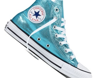 43adf51029a Blue Converse High Top Turquoise Teal Aqua Metallic Wedding Chuck Taylor  Custom w  Swarovski Crystal Rhinestone Bling All Star Sneakers Shoe