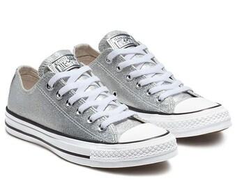 5406fa4cfa0afb Sparkle Silver Converse Glitter Low Top Gray Metallic Chuck Taylor Custom w   Swarovski Crystal Rhinestone Jewel Bling All Star Sneakers Shoe