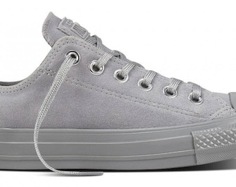 25f90efc00e6 Converse Gray Dolphin Grey Silver Suede Leather Low Top Chuck Taylor w   Swarovski Crystal Bling Rhinestone Wedding All Star Sneakers Shoes