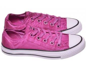 6f5e74ea92be Pink Converse Fuchsia Low Top Wash Mono Custom Kick w  Swarovski Crystal  Bling Rhinestone Chuck Taylor All Star Wedding Bride Sneakers Shoes