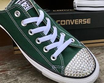 Green Converse Forest Hunter Gloom Low Top Bling Custom w  Swarovski  Crystal Rhinestones Jewels Chuck Taylor All Star Wedding Sneakers Shoes 631c38058f