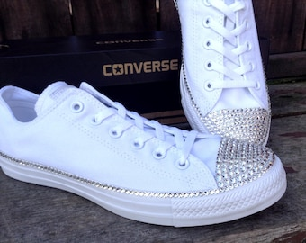 White Wedding Converse Canvas Low Top Bling Crystal Bridal Date Custom w   Swarovski Rhinestone Jewel Chuck Taylor All Star Sneakers Shoes d85ece000