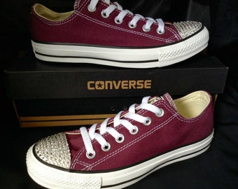 Burgundy Converse Maroon Cranberry Wine Red Mens Canvas Low Top w  Swarovski  Crystal Rhinestone Chuck Taylor All Star Wedding Sneakers Shoes 11c0ea9901