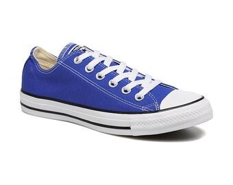 131fc562fcd63b Royal Blue Converse Low Top Custom Kicks Glass Slippers w  Swarovski  Crystal Wedding Chucks Rhinestone Jewels All Star Bridal Sneakers Shoes