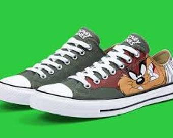 a7bfff0305b2de Looney Tunes Converse Classic Retro Cartoon Taz Devil Olive Gray Custom Low  Top w  Swarovski Crystal Chuck Taylor Kick All Star Sneaker Shoe