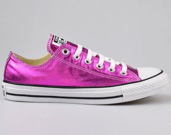 aa3bd63099c Hot Pink Converse Low Top Fuchsia Magenta Wedding Chuck Taylor Custom Kicks  w  Swarovski Crystal Rhinestone All Star Bridal Sneakers Shoes