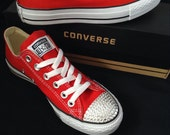 Red Converse Low Top Classic Cherry Canvas Custom Kicks w Swarovski Crystal Rhinestone Jewels Chuck Taylor All Star Wedding Sneakers Shoes