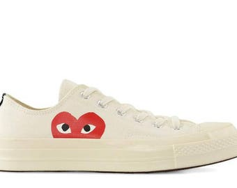 b298955d6907b0 Ivory White Converse Red Heart Peek a Boo Low Top Lady Men Custom w  Swarovski  Crystal Rhinestone Chuck Taylor Custom All Star Sneakers Shoe