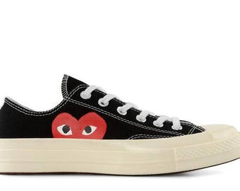 6097121e9eb45a Black White Converse Peek a Boo Heart Low Top Lady Mens w  Swarovski Crystal  Rhinestone Chuck Taylor Custom All Star Sneakers Trainers Shoes