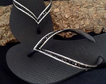 33ef9d958e8 Black Flip Flops Custom Jewel Havaianas Slim Jet w  Swarovski Bling Crystal  Glass Slipper Rhinestone Wedding Sandals Beach Bride Thong Shoes