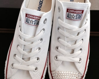 7618198a084f30 White Converse Children s Kids Baby Toddler Low Top Custom w  Swarovski  Crystal Rhinestone Jewels Chuck Taylor All Star Bride Sneakers Shoes