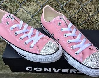 Hot Pink Converse Low Bright Rose Fuchsia w Swarovski Crystal Rhinestone Bling Bride Custom Chuck Taylor All Star Custom Sneakers Shoes