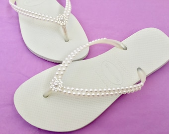 c64f7ade6e2ea5 White Pearl Havaianas Slim Flip Flops Bridal Crystal Rose w Swarovski  Rhinestone Bling Bride Silver BridesMaid Beach Wedding shoes