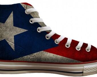 ca33984318cf Puerto Rico Custom Print Chucks High Tops Flag pride distressed Mens Ladies  Basketball Kicks w  Swarovski Crystal Kids Sneakers Shoes