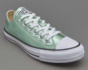 ac610a03ba12 Mint Green Blue Ice Aqua Converse Low Top Metallic Canvas w  Swarovski  Crystal Custom Rhinestone Chuck Taylor All Star Wedding Sneaker Shoes
