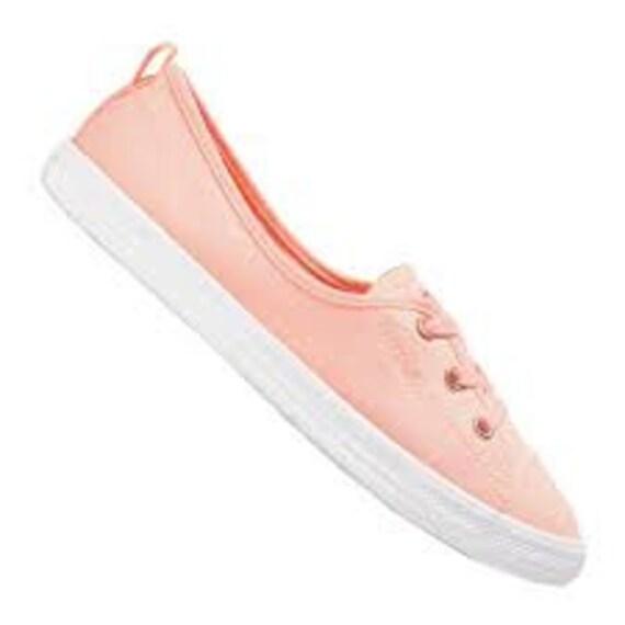 Apricot Peach Converse Coral Palms Low Top Slip On Ballet Lace Pink Bridal w/ Swarovski Crystal Rhinestone Chuck Taylor Wedding Sneaker Shoe