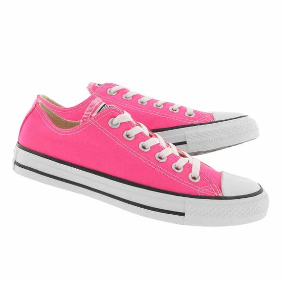 Pink Converse Low Top Bright Rose Pow w/ Swarovski Crystal Rhinestone Bling Bridal Wedding  Chuck Taylor All Star Trainer Bride Sneaker Shoe
