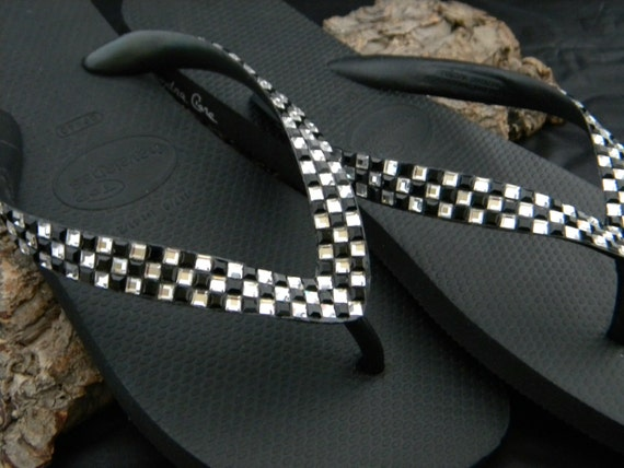 Custom Crystal Flip Flops Black White Geometric Square Checkerboard Retro Race Day Flag Havaianas or Cariris Wedge heel w/ Swarovski Shoes