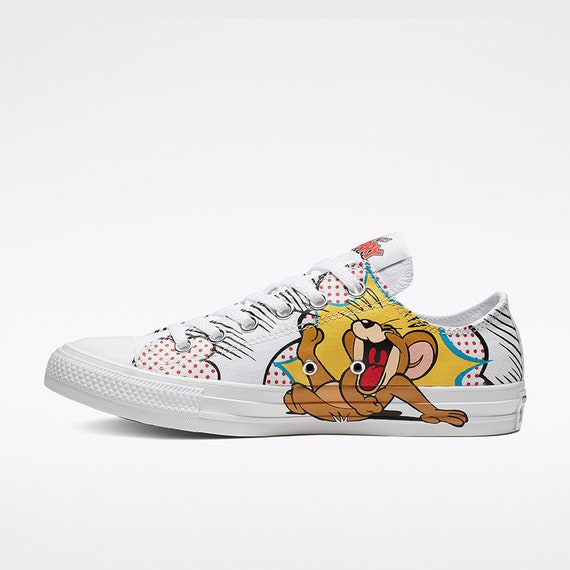 Tom & Jerry Converse Kicks Low Top Canvas Retro Cartoon w Swarovski Crystal Rhinestone Jewel Chuck Taylor Bling All Star Sneakers Shoes