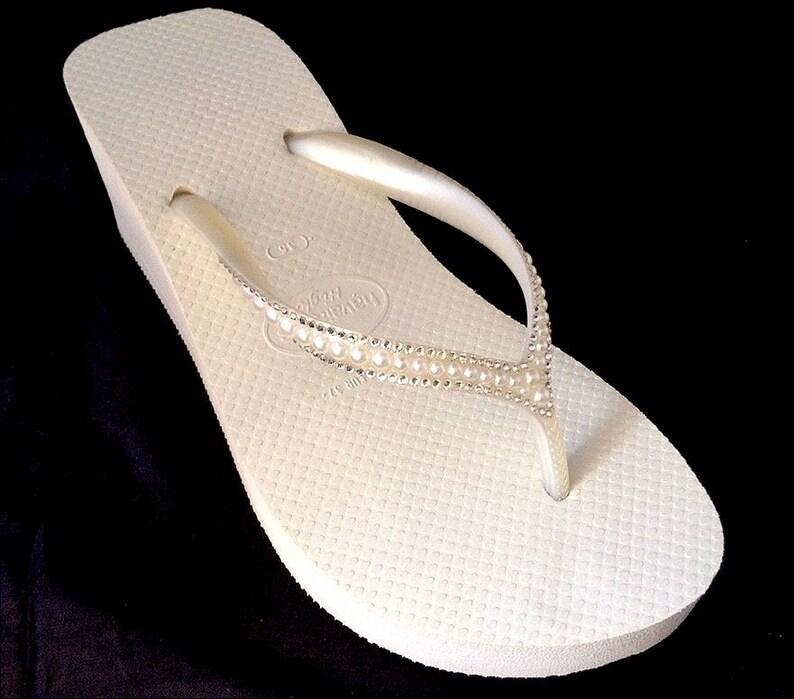 652558c0d Off White Havaianas High Wedge Heel Flip Flops 2.4 w
