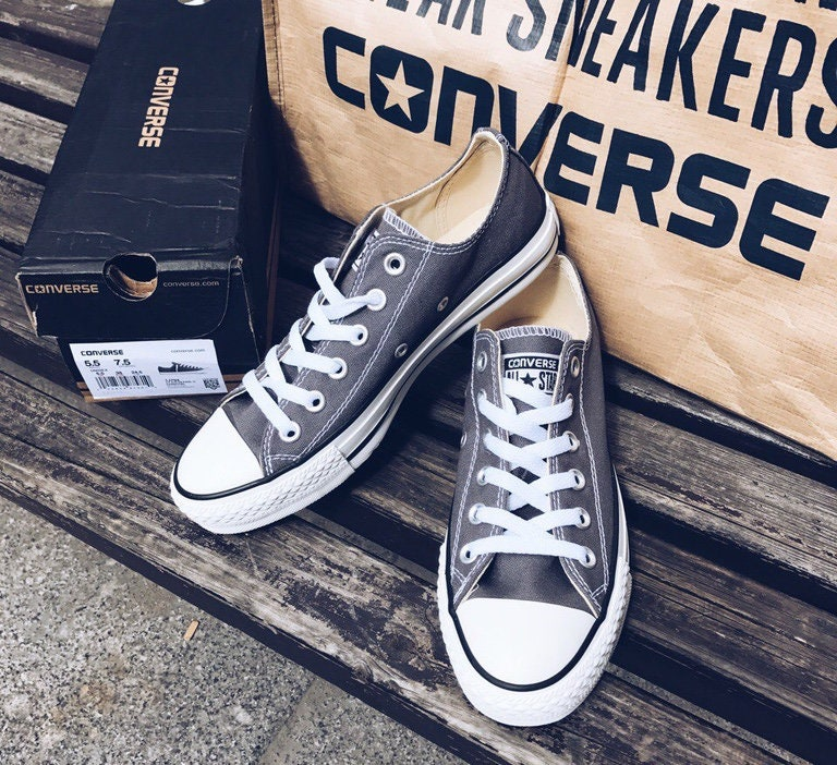 7b7b70a05cdc Dark Gray Converse Low Top Wedding Canvas Charcoal Grey Chuck Taylor w   Swarovski Crystal Bling Rhinestone All Star Wedding Sneakers Shoes