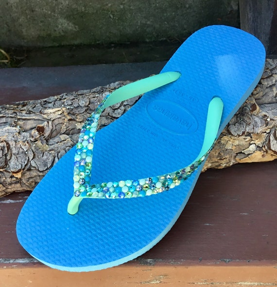 Turquoise Blue Mint Green Havaianas Slim flat Crystal Flip Flops w/ Swarovski Rhinestones Beach Wedding Sandals Bling Ladies Custom Shoes