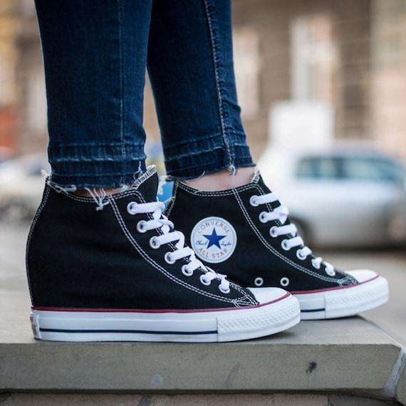 Black Converse Canvas High Rise Lux Wedge Heel US 10.5 Custom w/ Swarovski Rhinestone Crystal Chuck Taylor All Star Wedding Sneakers Shoes