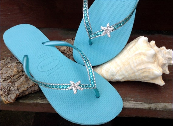 359fe96fadc1 Silver Starfish Custom Crystal Havaianas Slim flip flop 39 40 US 9 10 w   Swarovski Bling Ice Blue Turquoise Aqua Beach Wedding Sandals Shoes