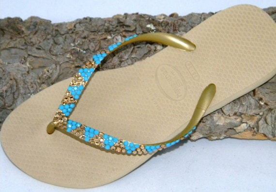Custom Crystal Flip Flops Havaianas Slim flats Gold Sand Gray Khaki Tan w/ Vintage Turquoise Blue Jewels Swarovski Bling Beach Sandals Shoes