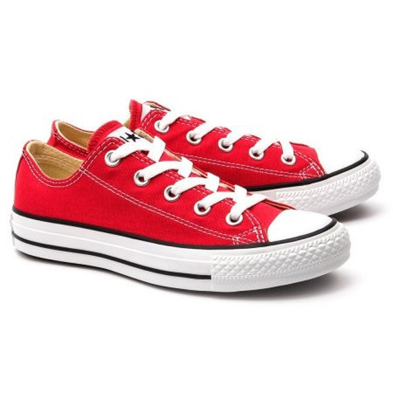 Red Converse Low Tops Cherry Canvas Custom Kicks w/ Swarovski Crystal Bling Rhinestone Jewels Chuck Taylor All Star Wedding Sneakers Shoes